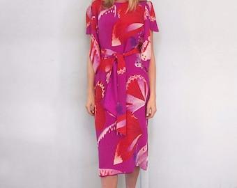 Vintage 1980's Silk Butterfly Print Hanae Mori Boutique Dress