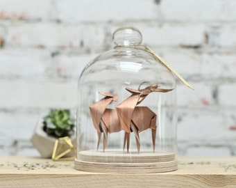 Sculpture Origami Deer Couple. Paper Anniversary Gift for Him. Taxidermy. Marriage Proposal. Copper Decor. Gift for her. Curiosity Cabinet