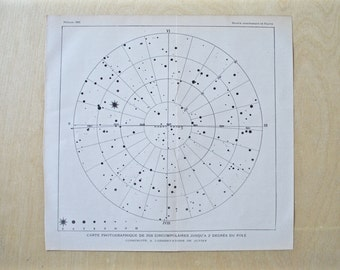 1903 - Star & Constellation Map - Antique French Solar System Book Print - Vintage Astronomy Print