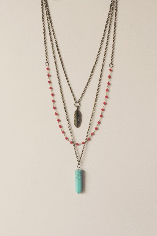 Gemstone Necklace Layered Necklace Crystal Necklace