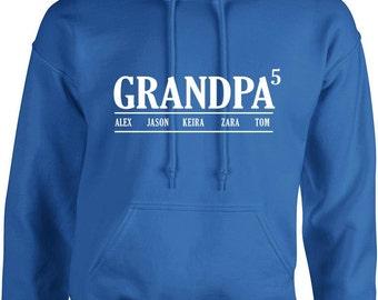 Grandpa Hoodies With kids Names ,Custom grandfather long sleeves hooded sweatshirts, Birthday gift, father's day gift, fathers day, top