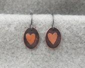 Tiny Copper Heart Earrings, simple delicate, organic earring, unique handmade modern earring, sterling ear wire, silversmith, embossed heart
