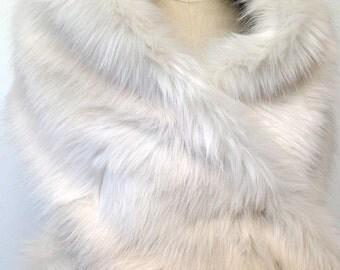 Ivory Fur Stole - Wedding Stole Ivory Faux Fur Shawl - Ivory Fur Bridal Shrug Scarf Cape -White Faux Fur Bolero - Gift for Her - Handmade UK