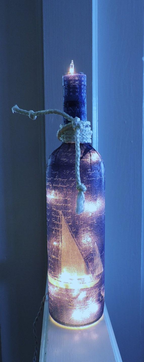 Items similar to Sailboat Wine Bottle LightNautical