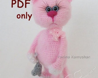 Missi the Cat, crochet toy, amigurumi, PDF pattern