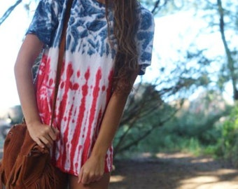 USA! USA! Perfect tie dye 4th of july shirt! High quality made in the USA!!! Festive july 4th red white and blue tie dye shirt!