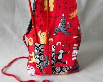 wristlet knitting project bag, knitting pocket bag Cat