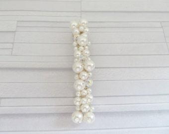 White pearl barrette, Swarovski pearl barrette, White wedding, Pure white barrette, Pearl barrette, White barrette, Bridal accessory,