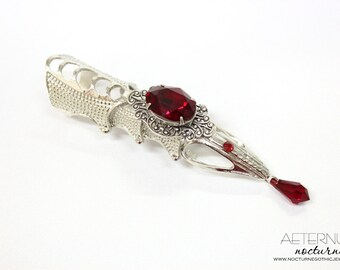 Vampire Gothic ring - armor ring, silver tone, Swarovski blood red crystal stone and pendant, vampire jewelry, male ring - Gothic jewelry