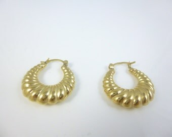14KT Gold  Earrings, Gold Hoop Earrings, Vintage