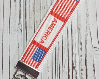 Wristlet Key Fob - American Inspired with White Webbing, Choose One Stars and Stipes or America with Flag, Key Chain