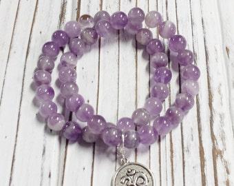 Amethyst Bracelet, Healing Stone, Purple Stone, Natural Stone Bracelet, 8 mm Bead Size