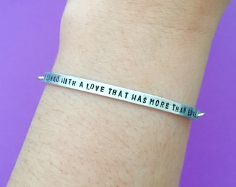"""Customizable Edgar Allan Poe Annabel Lee Verse """"We Loved With A Love That Was More Than Love"""" Engraved Stamped Bracelet, Made-to-Order"""