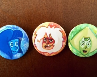 Jasper, Lapis, Peridot Buttons w/pinbacks