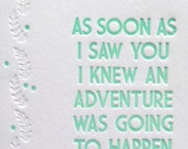 Winnie The Pooh Adventure Quote Letterpress Card - Two colour choices
