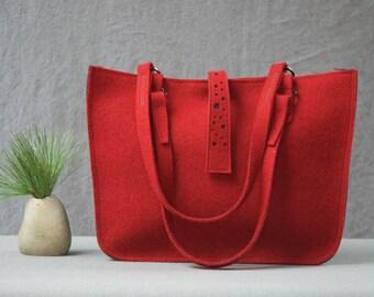 Red Felt Handbag, Red Felt Tote, Modern Handbag, Felt Bag, Moderne Handtasche, Large Felt Purse, Red Handbag