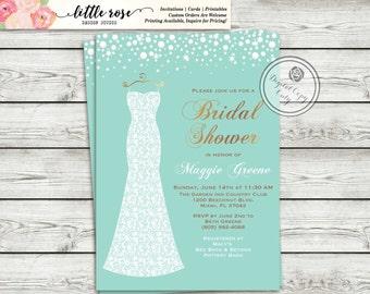 Bridal Shower Invitation - Wedding Dress - Sparkles and Pearls - Printable Invitation - Digital File - Wedding Shower - LR1006