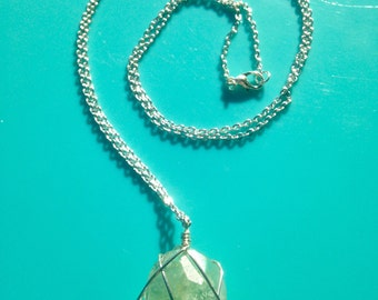 Long Aquamarine Pendant Necklace