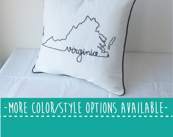 Virginia State Embroidered  Decorative Throw Pillow Cover, United States Arlington Norfolk Richmond Gift