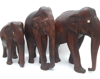 Handmade Teak Wood Elephant Figurines, Set of 3 Hand-carved Elephants / Mid Century Home Decor