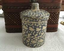 RRP Spongware Quart High Jar with Lid, Cobalt Blue Spongeware, Robinson Ransbottom Pottery, Roseville OH, Lidded Pottery Jar, Spongeware