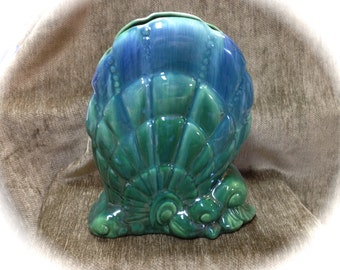 Royal Haeger Pottery Vase, Sea Shell Vase, Green Blue Shell Vase, Royal Haeger, 1950s, R878, Made in USA, Royal Haeger Shell Vase