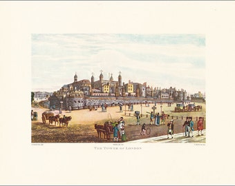 The Tower of London prison landmark tourist attraction victioan Great Britain England vintage print 1821 coloured engraving 7 x 9.25 inches