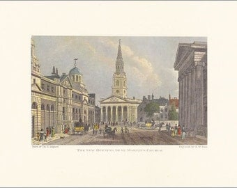 Victorian London St Martin's Church new opening vintage print coloured engraving 7 x 9.25 inches