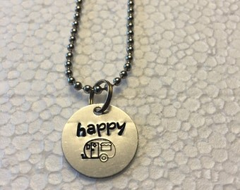 Happy Camper Metal Hand Stamped Charm Necklace