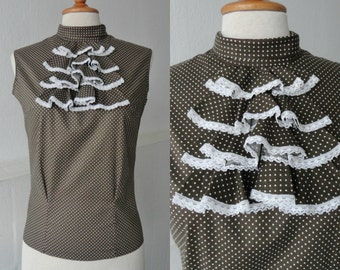 60s Vintage Blouse With Ruffles And Polka Dots // Brown // Cotton // Size 36