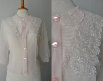 40s Soft Pink Sheer Nylon Vintage Blouse With Lace // Buttoned Through