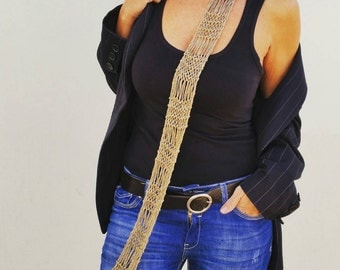 Skinny gold scarf,  golden accessories, women scarves, skinny knit scarves, skinny scarf, infinity scarves, gold trends, gold knit necklace