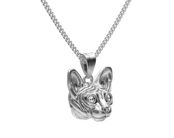 Handmade Diamond Sphynx Cat Jewelry.  Sterling Silver pendant and necklace. Great for all the Cat and Pet Lovers.