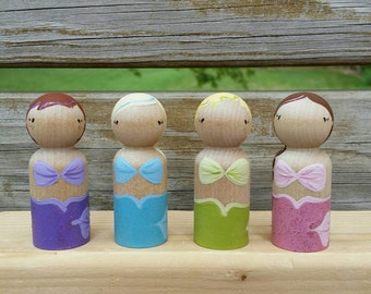 READY TO SHIP  - Mermaid Peg Dolls / Cake Toppers / Collectibles / Stocking Stuffers