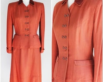 RESERVED: Vintage 1940s Suit / Rust Color Lady Renlyn Two Piece Suit Jacket And Skirt /Double Breasted / Cuffed / Button Front Jacket