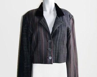 Vintage ZOE California Women's Cropped Blazer Jacket Velvet Collar Shoulder Pads