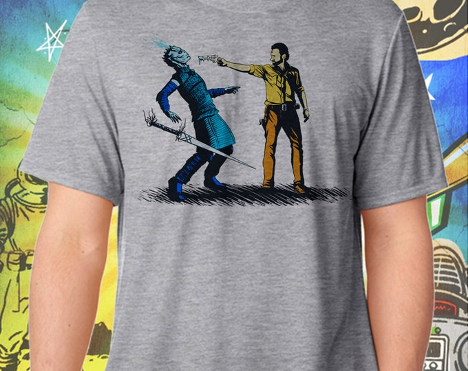 Walking Dead's Rick Grimes Ends The Night King's Winter Gray Men's T-Shirt