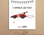 Mini Notes - Race Car Valentines - Lunchbox Notes - Flat Mini Notes - Children's Valentines - Personalized Children's Stationery