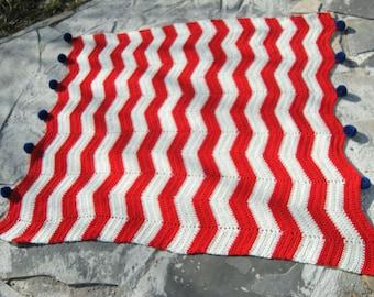 Red White Stripe Chevron Blue Pompom  Crochet Baby Blanket Throw Lap Blanket