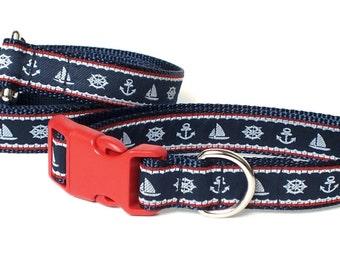 Nautical Leash Collar Set, Dog Collar set