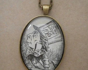 Mad Hatter necklace - Alice in Wonderland upcylced book page pendant