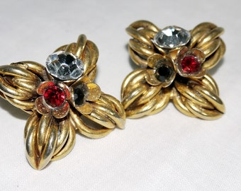 Vintage earrings 50's - Gold and strass
