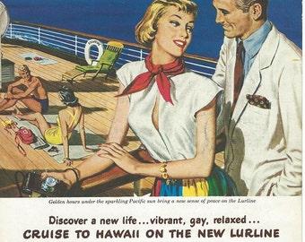 matson cruise line hawaii 1949 & panagra pan american airways 1953 advertisments downloads