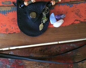 Hippie Gypsy Leather Crystal Pouch Necklace, medicine Pouch with gemstones