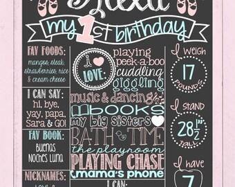 Ballerina Vintage Shabby Chic First Birthday Chalkboard Poster | Ballerina Birthday Board | Ballerina | Girl Birthday |*DIGITAL FILE*