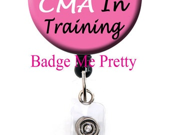 Retractable ID Badge Reel With Your Name -Damask Badge Holder- CMA In Training