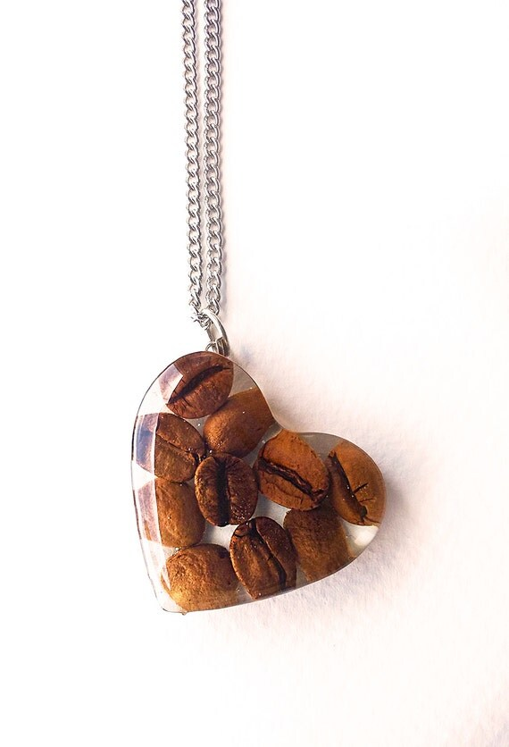 coffee bean necklace coffee pendant real coffee jewelry