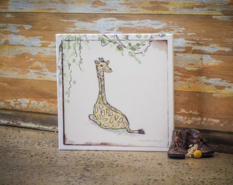 Willowed Gerry Giraffe | 1:1 Square | Illustration | Canvas Art | Farmyard Friends | Decorate | Wall | Kid | Child | Adult | Little Me & My