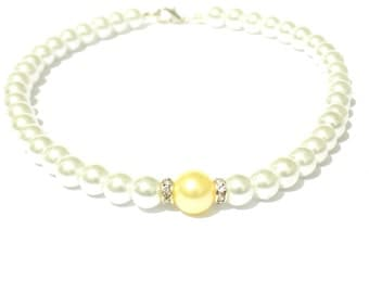White and yellow pearl necklace, white pearl necklace, yellow pearl necklace, beaded necklace, bridesmaid necklace, bridal necklace