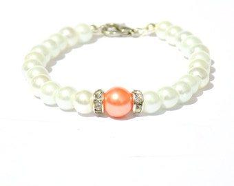 White and orange pearl bracelet, white pearl bracelet, orange pearl bracelet, beaded bracelet, bridesmaid bracelet, bridal bracelet
